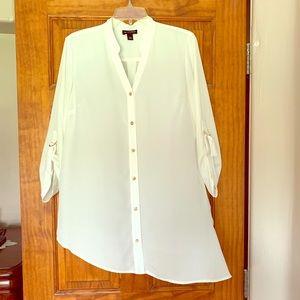 💋White Asymmetrical Tunic Blouse